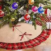 Aparty4u Burlap Gonna Albero Natale con Rosso e Nero Plaid Ruffle Gonne per Albero di Natale Copertura di Base Tappeto Albero di Natale Decorazione, 122cm