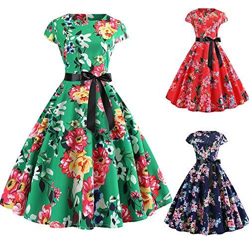 IZHH Damen Kleid Damen Vintage Hebborn Kurzarm O Neck Abend Blumendruck mit Gürtel Party Prom Swing...