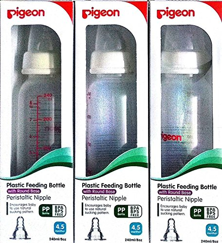 Pigeon Peristaltic Nipple Free Bottle - 240Ml (Pack Of 3 Bottles)White