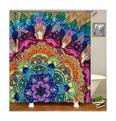 Quallen Kostüm Muster - Amody Duschvorhang Stoff Waschbar Blumen Duschvorhang Stoff Antischimmel 180x200CM Badvorhänge Fenster