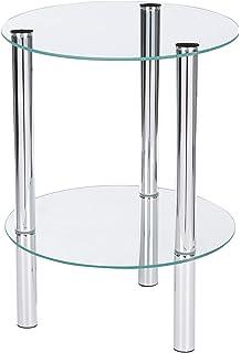 Tube dAcier 40 x 40 x 48 cm Chrom/é//Optique B/éton Haku M/öbel Table dAppoint