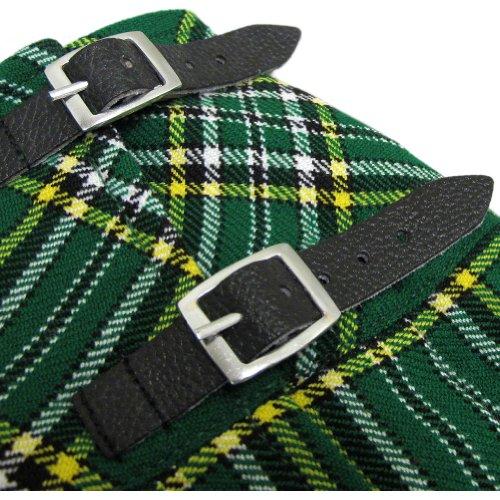 "Tartanista - Kilt irlandese 42cm (16.5"") - fascette in pelle - Verde Irish"
