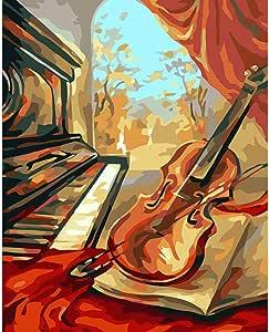 Dipingere con i Numeri Adulti,Strumento Musicale Astratto ,DIY Paint by Numbers Bambini Principianti Kit,con pennelli e pigmento Acrilico Regalo Art d/éco 40x50cm//Con Cornice