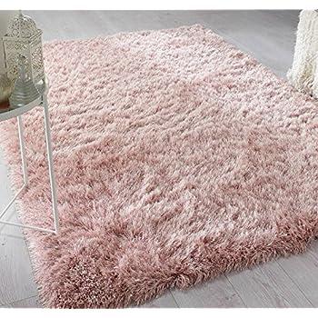 Blush Pink Shaggy Rugs Non Slip Bedroom Mats Fluffy Soft