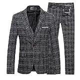 Cloudstyle Slim Fit Herrenanzug Tweed Karriert Fischgräte Design Retro Vintage