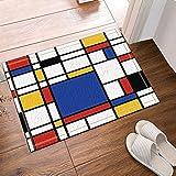 fdswdfg221 Decoración geométrica Abstracta Replicación Continua de Mondrian s Antideslizantes Entradas al Aire Libre de la Puerta Delantera Interior de de