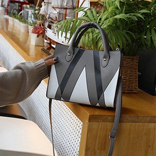 Lässig Mode Dame große Handtasche MessengerTasche Geldbörse JYJMLady Leder Handtasche Schultertasche Dreieck gedruckt Grau