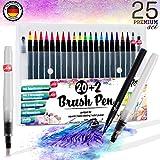 Premium Brush Pen Set Pinselstifte - [ 20+2+3 ] für bildschöne Aquarell / Watercolor Effekte , Bullet Journal Zubehör und Hand-Lettering / Kalligraphie Zeichnungen - knallige Farben Stifte mit flexibler Echtpinsel-Spitze für atemberaubend Ergebnisse