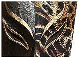Edle 50 cm Batik Gold Holz Wandmaske Vogel Leopard Tribal Maori Afrika Maske 56 - 4