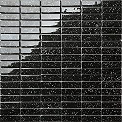 30cm x 30cm Black Rainbow Glitter Glass Mosaic Tiles Sheet (MT0010)