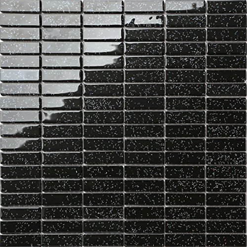 30cm x 30cm Black Rainbow Glitter Glass Mosaic Tiles Sheet (MT0010)