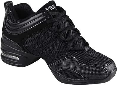 Black Split Sole Mesh Practice Shoe Lace up Sneakers Slip Resistant Trainers Jazz Ballroom Dancewear Teaching Yudesun Shoes Sports Outdoor Dance Women Shoes is Smaller