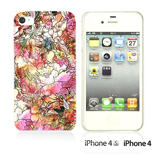 OBiDi - Flower Pattern Hardback Case / Housse pour Apple iPhone 4S / Apple iPhone 4 - Colorful Flowers With Birds Colorful Watercolor Flower