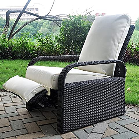 Outdoor Resin Wicker Patio Recliner Chair with Cushions, Patio Furniture Auto Adjustable Rattan Sofa, UV/Fade/Water/Sweat/Rust