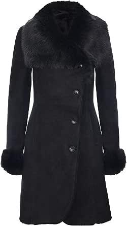 Infinity Leather Cappotto da Donna in Montone Scamosciato Merino Nero Caldo con Collo Toscano