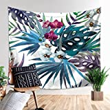 Z&HAO Tropical Hawaii Grünpflanze Nethara Wand-Stickerei Dekorative Stickerei Stoff Wandtattoo Boden Stoff Zimmer Partition Vorhänge, graph 1 130*150