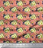 Soimoi Naranja terciopelo Tela cuadrado, tucán y el floral tela estampada de costura de tela 58 Pulgadas de ancho