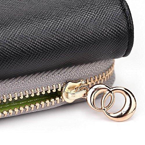 Kroo d'embrayage portefeuille avec dragonne et sangle bandoulière pour ACER LIQUID Z220 Multicolore - Green and Pink Multicolore - Noir/gris