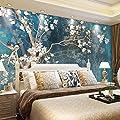 HONGYUANZHANG Benutzerdefinierte 3D Fototapeten Tapete Nordic Blue Vintage Gemalte Blumen Vögel Ölgemälde Tapeten Schlafzimmer Wandbild von HONGYUANZHANG - TapetenShop
