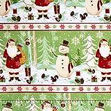 Blanko Quilting Weihnachtsstoff, Wald, Schneemann,