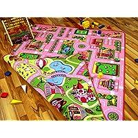 Lernen und Spielen Straßenteppich Beidseitig mit Zwei Straßenlandschaften Girls Rosa in 4 Größen