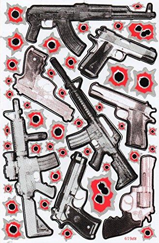 Einschusslöcher Waffe Gewehr Sticker Aufkleber Folie 1 Blatt 270 mm x 180 mm wetterfest rot (Waffe-aufkleber)