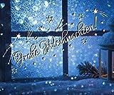 tjapalo® TK37 Schriftzug ~frohe Weihnachten~ (29x10cm) Farbe WEIß Fensterdeko Weihnachten Aufkleber selbstklebend Sterne Sternschnuppen Sticker Fenster Weihnachtsdekoration Weihnachten Wandtattoo Kinder Autoaufkleber Sternchen