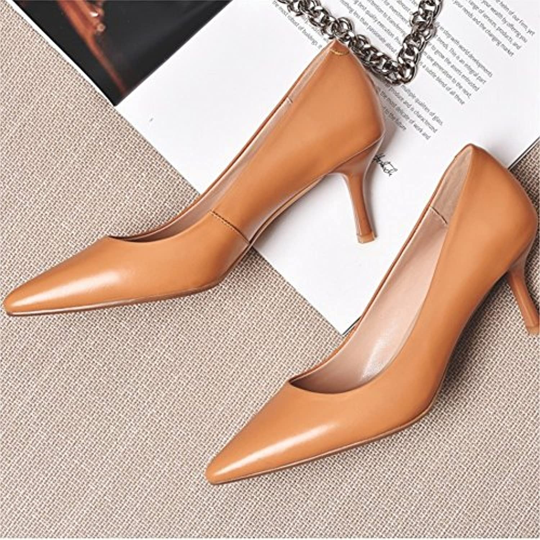 H+H HH Spitze Einzelne Schuhe Sommer mit Sommerschuhen Temperament Schaffell Schuhe Ol mit Nude Farbe High Heel