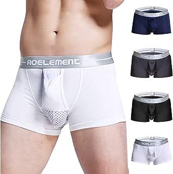 Littinng Boxer Slip Pack 4 per Uomo Pala separata Design Convesso 3D a Forma di U Intimo Sexy Traspirante Cotone Multicolore Salute Fisica Uomo Morbido e Confortevole