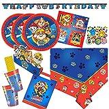 Amscan/Hobbyfun 63-teiliges Party-Set Paw Patrol - Teller Becher Servietten Trinkhalme Einladungen Tüten Girlande Konfetti für 8 Kinder