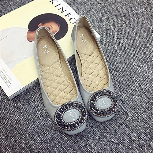 WYMBS Nouveau bouton diamant square cuir chaussures talon plat chaussures Chaussures pour femmes Gray