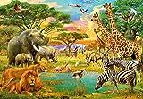Fototapete AFRICAN ANIMALS, 366x254cm, Malerei - afrikanische Tiere in der Savanne, 8-teilig, Kindertapete