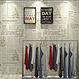 Poowef Wallpaper Zeitung Tapeten, Englischen Buchstaben, Antike Und Nostalgischen Fashion Shops, Die Dekoration Der Alten Zeitung Wand Papier In Den Friseur, 0,53 X 10 M, Gelb