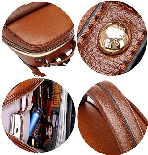 YunNasi Sac à dos en PU cuir Sac à dos pour femmes filles Sac de loisir Cartable de style britanique (Beige) Café