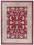 Tapiso Colorado Teppich Wohnzimmer Klassisch Kurzflor Orientalisch Rot Creme Floral Ornament Muster Traditionell Orientteppich ÖKOTEX 160 x 220 cm