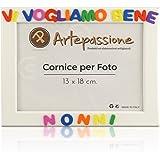 Cornici per foto in legno con la scritta Vi Vogliamo Bene Nonni, da appoggiare o appendere, misura 13x18 cm Bianca. Ideale pe