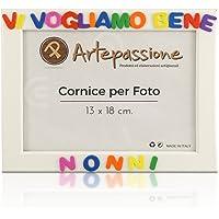 Cornici per foto in legno con la scritta Vi Vogliamo Bene Nonni, da appoggiare o appendere, misura 13x18 cm Bianca…