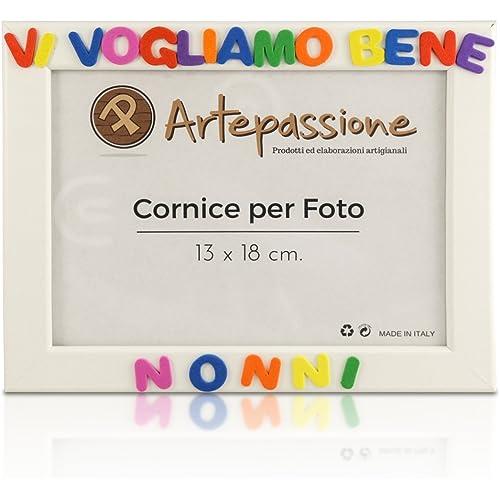 Cornici per foto in legno con la scritta Vi Vogliamo Bene Nonni, da appoggiare o appendere, misura 13x18 cm Bianca. Ideale per regalo e ricordo.