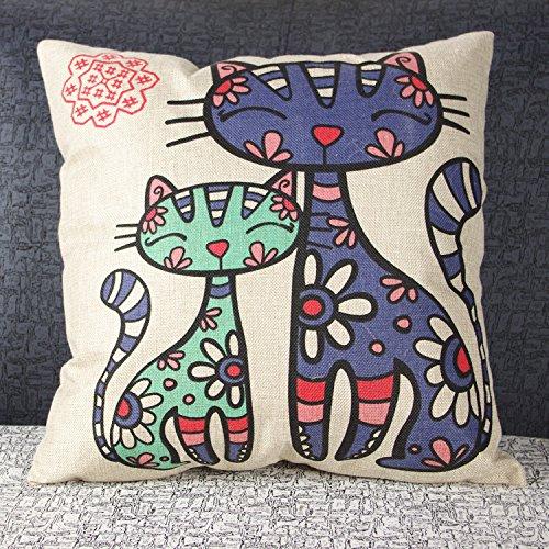 Luxbon Federa per cuscino, in lino duraturo, con disegni geometrici, decorazione per divano, letto, auto, ca. 45 x 45 cm