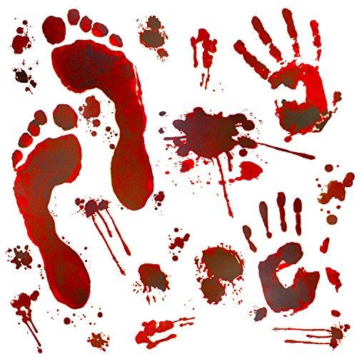Oblique Unique® Halloween Sticker Aufkleber realistisch große schaurige blutige Handabdrücke Fußabdrücke