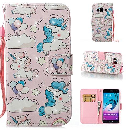 COZY HUT Custodia Samsung Galaxy J3 2016, Premium Pu Portafoglio Protettiva in Pelle,Anti-Slip Slot Portafoglio Flip Slim Fit Cover per Samsung Galaxy J3 2016 - Unicorno Rosa