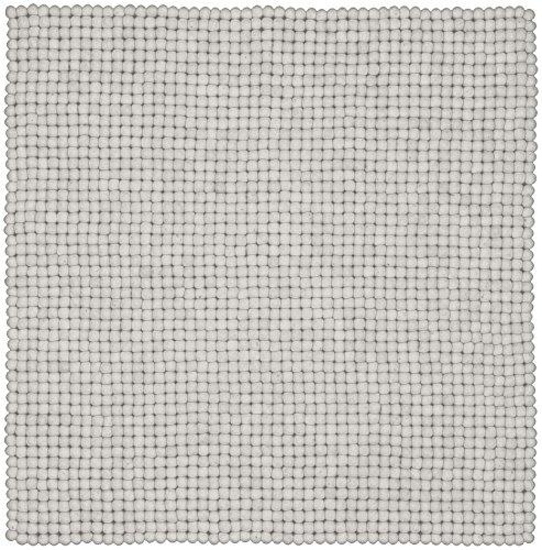 myfelt Linéa Filzkugelteppich, Quadratisch, Schurwolle, Weiß, 50 x 50 cm