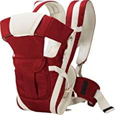 Chinmay Kids Cotton Adjustable Hands-free 4-in-1 Baby Carrier with Head Support and Buckle Straps (Maroon)