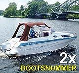 com com Werbung & Druck GmbH Bootskennzeichen - Bootsnummern // zwei Stück // WEISS
