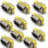 10 x Gender Changer 9 pol Stecker Seriell Adapter RS232 Male 9-pol Com D-Sub DB9