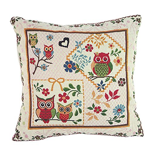 Jtartstore Fantastic Loving Owl House Square Pillowcase Cotton Linen Cushion for Pillow Free shipping Wholesale price 18 x 18 inches