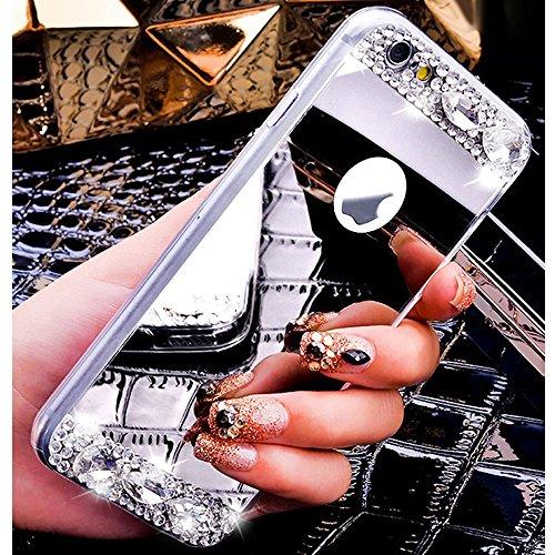 Glitzer Hülle für iPhone 6S,iPhone 6 Hülle,iPhone 6 Hülle Transparent Crystal Bling Glitzer Flüssig Case Hülle Klare Ultradünne Plastik Gel Schutzhülle für iPhone 6S / 6 4.7 Zoll,EMAXELERS iPhone 6S H A Mirror 3