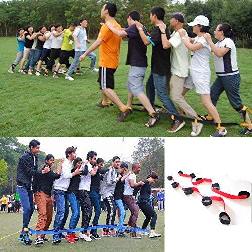 crayfomo DREI Legged 4 Legged Race Bands Outdoor-Spiel für Kinder Erwachsene Geburtstag Team Party Games (4 Personen (rot)) (Spaß-party-spiele Kinder Für)