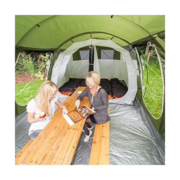 skandika Gotland 4 - Tienda de campaña Familiar - mosquiteras - Suelo Cosido en Forma de bañera - túnel (Verde) 1
