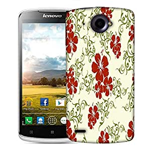 Snoogg Red Flower Cream Pattern Designer Protective Phone Back Case Cover For Lenovo S920